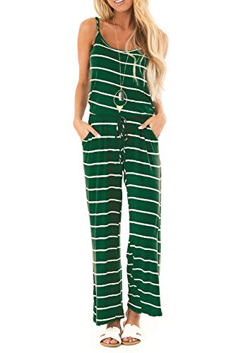 sullcom Women Summer Striped Sleeveless Wide Leg Jumpsuit Casual Spaghetti Strap Stretchy Long Pant Rompers (Medium, E-Green)