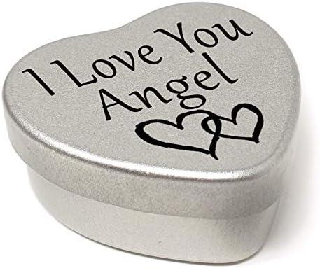 I Love You Angel Mini Heart Tin Gift For I Heart Angel With Chocolates