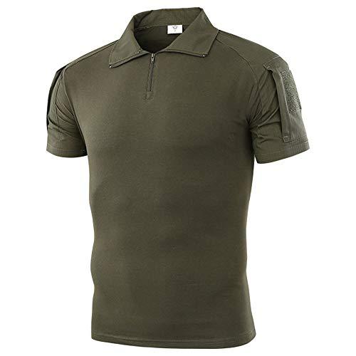 (Tactical Combat Short Shirt Military Camo Short Sleeve T-Shirt for Airsoft Paintball (Green,)