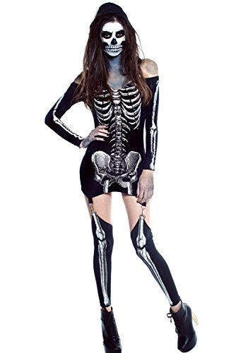 [LOBiI78lu Women's X-rayed Halloween Off-shoulder Skeleton Dress Costume] (Adult Vintage Witch Costumes)