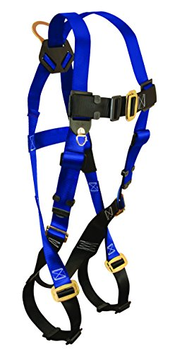 FallTech 7015 Contractor Full Body Harness with 1 D-Ring and Mating Buckle Leg Straps, Universal Fit -