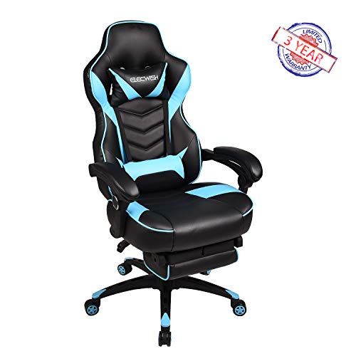 ELECWISH Racing Video Gaming Chair High Back Large Size Ergonomic Adjustable Swivel Reclining Executive Computer Chair with Headrest and Lumbar Support PU Leather Executive Office Chair Sky - Racing Sb