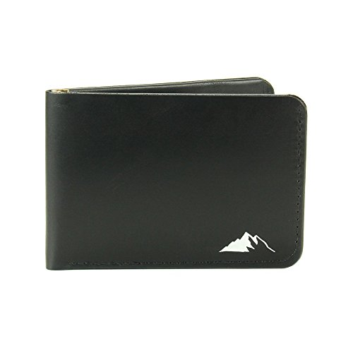 Mens Wallet Minimalist Bifold Horween Chromexcel Leather By Rugged Material (Black)