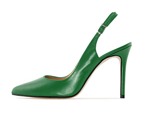 Sammitop Women's Slingback High Heel Shoes Closed Toe Pumps with 10cm Heels Green US8.5
