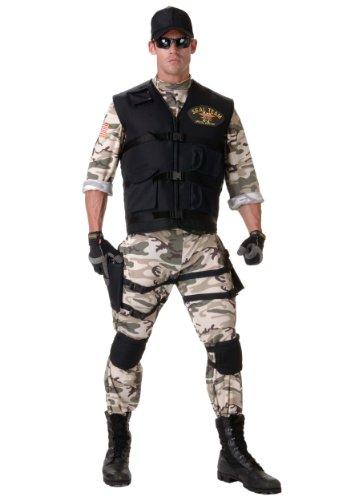 [Underwraps Men's Seal Team Adult Standard, Camo/Black, Teen] (Military Costumes For Teens)