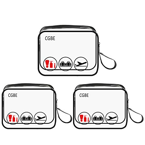 3pcs/pack CGBE TSA Approved Toiletry Bag with Durable Zipper, Clear Toiletry Bag for Liquid Bottles/Cosmetic 3-1-1 Travel Toiletry Bag with Handle Strap, Quart Size Carry on Makeup Pouch