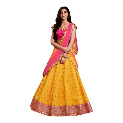 Yellow Silk Wedding Function Blouse Work Lehenga Chaniya Choli Party Net Dupatta Muslim Women Festival 7363