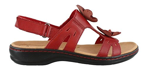 Clarks Women's Leisa Claytin Strappy Sandal,Red Leather,US 7.5 N