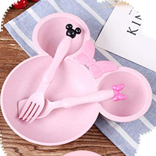 Best Quality - Dishes - 3pcs/set Baby Feeding Bowl Bowl/Spoon/Fork Children Tableware Set Food Dishes Wheat Straw Dinner Plate Cartoon Mikey Mouse Plate - by SeedWorld - 1 PCs -