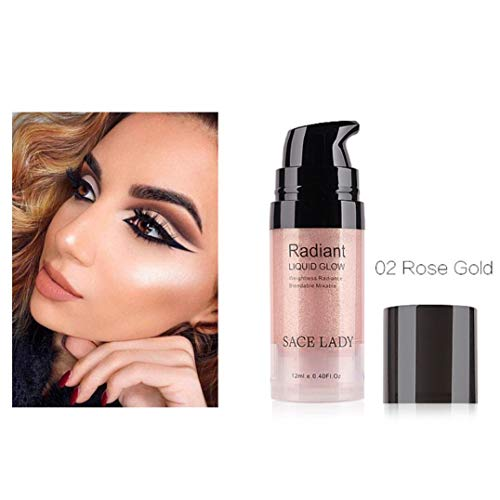Pressed Highlighter Liquid Shimmer Long-lasting Smooth Glow Lip Foundation Makeup High Light Cream Facial Bronzer Concealer Cosmetic Single Color Highlighter Liquid (B) ()