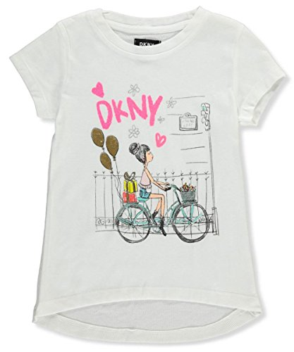 Bike White T-shirt (DKNY Little Girls' Short Sleeve T-Shirt, Bike Life White, 6)