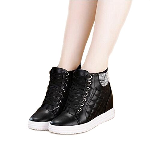 Women's Wedge Heel Sneaker High Top Cz Athletic Running Shoes Lace Up Walking High Top Athletic Shoes