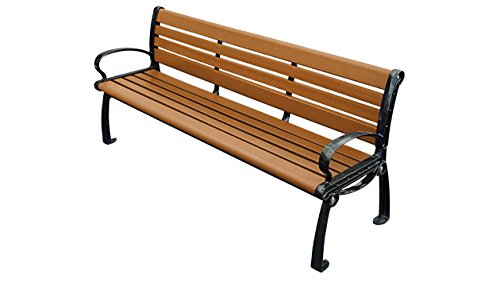 6' Recycled Plastic Madison Bench - Cedar (6' Recycled Plastic Table)
