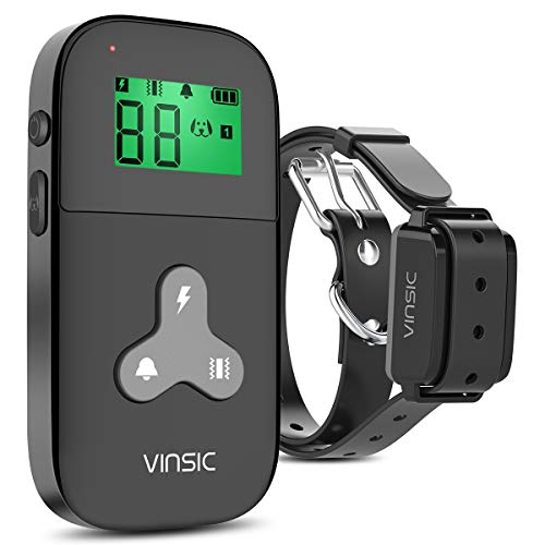 VINSIC Dog Training Collar with Remote, Shock Collar for Dogs 300 Meters Range Mini Dog bark Collar with Remote LCD Display for Small Large Dogs 1-5 Level Shock and Vibration – Black