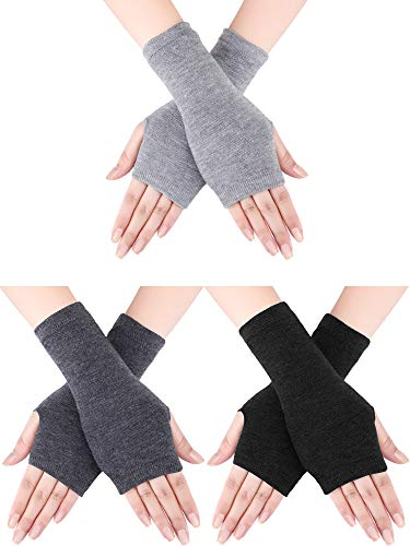 Bememo 3 Pairs Winter Long Fingerless Gloves Knit Elbow Length Gloves Thumb Hole Arm Warmers for Women Girls (Color Set 6, Short Type)