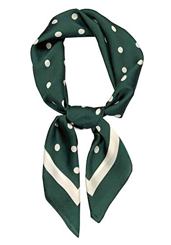 (Women's Fashion Soft Large Satin Square Chiffon Polyester Scarf Set Head Neck Multiuse Solid Colors Available (Dark green spots) )