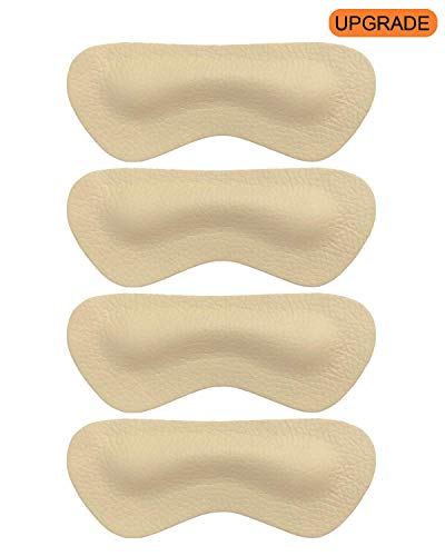 Heel Grips Liners Inserts for Shoes Too Big,Shoe Filler Improved Shoe Fit and Comfort for Women Men, Leather Prevent Blisters,2 Pair (Beige, Thicker)]()