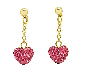 Girls Dangle Shamballa Heart Earrings by Minigems