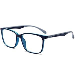 ANRRI Blue Light Blocking Computer Glasses for UV Protection Anti Eyestrain Anti Glare Transparent Lens Lightweight Frame, Reading Eyeglasses, Gray, Unisex(men/women)