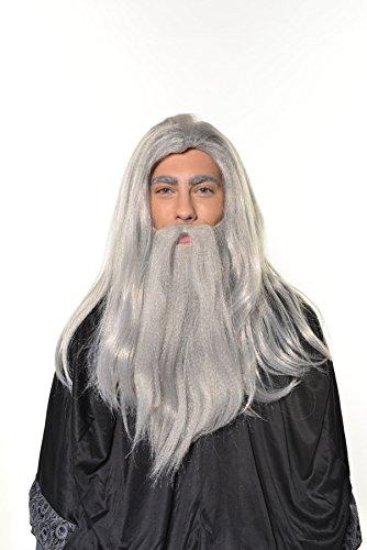 HalloweenAroundCorner.com Wizard Old Man Wig with Beard Warlock Merlin Dumbledore Gandalf Style H0554 Grey]()
