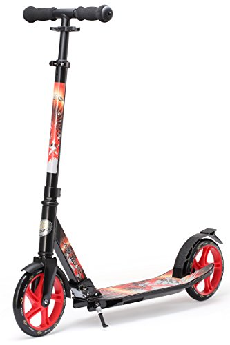 STAR-SCOOTER Original Pro Sport Big Wheel Push Kick Scooter Foldable for Adults, Teens and Kids age 7 years | 205mm Premium Cruiser Edition | Black & Red