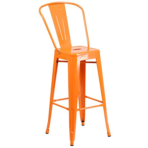 (Flash Furniture 30'' High Orange Metal Indoor-Outdoor Barstool with Back)