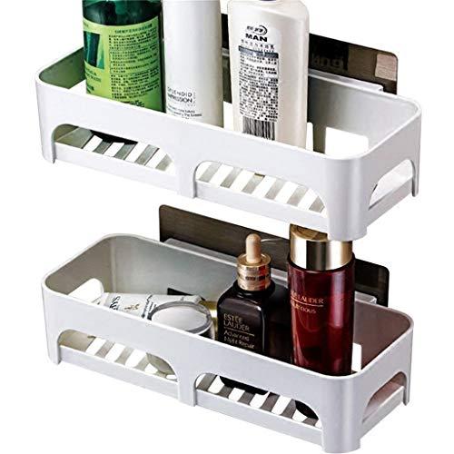 Bathroom Shower Shelf Plastic Rectangle Wall Mount Lavatory Shelves Shower Organizer Towel Rack White (Lan Rack Shelf Kit)
