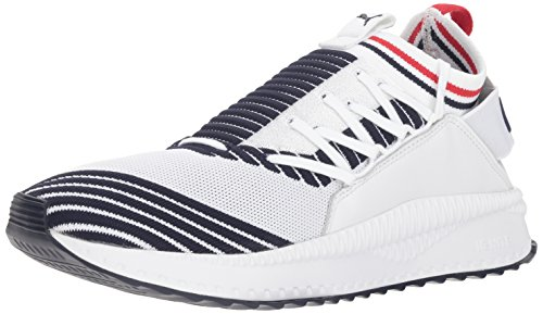 PUMA Men's Tsugi Jun Sneaker, White-Peacoat-Ribbon red, 9.5 M US