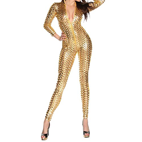 Quesera Women's Sexy Hollow Catsuit One Piece Metallic Skinny Stretch Bodysuit,Gold,free size suits XS-M
