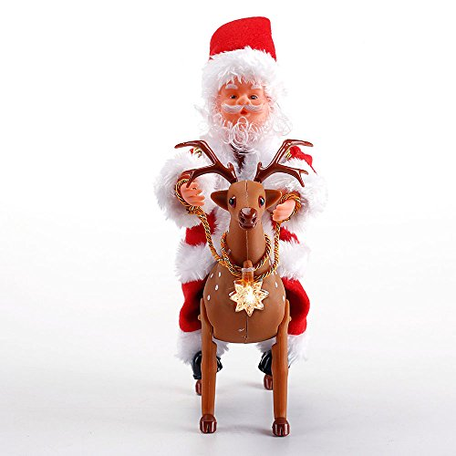 santa riding reindeer animated christmas decorations indoor musical christmas figure plays jingle bells by season essential - Essential Christmas Decorations