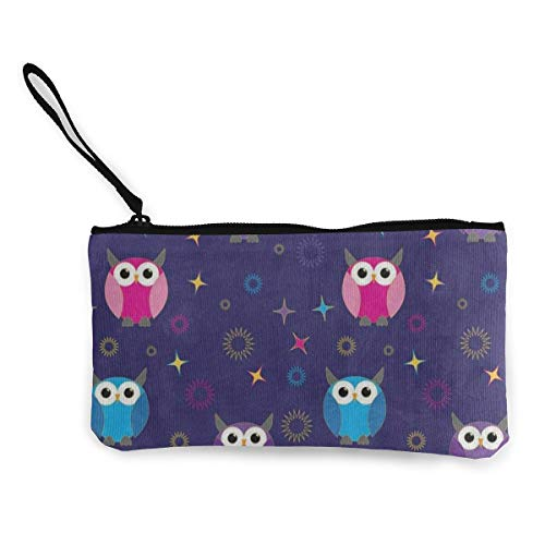 Canvas Coin Purse Funny Owl Star Bird Customs Zipper Pouch Wallet For Cash Bank Car Passport