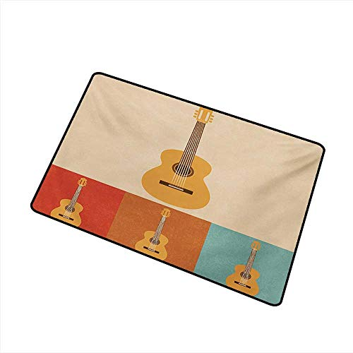 Diycon Outdoor Door mat Guitar Retro Icons Acoustic Guitars in Colorful Frames Nostalgic Music Stringed Instrument W30 xL39 Breathability