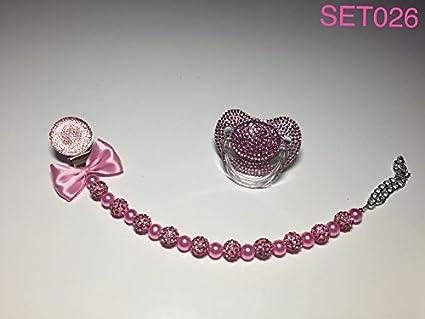 Lujo Baby Chupete con piedras brillantes y cadena, color rosa ...