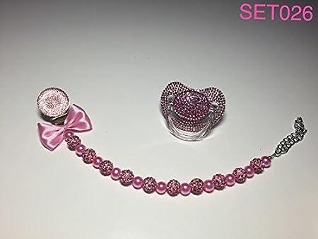 Lujo Baby Chupete con piedras brillantes y cadena, color ...