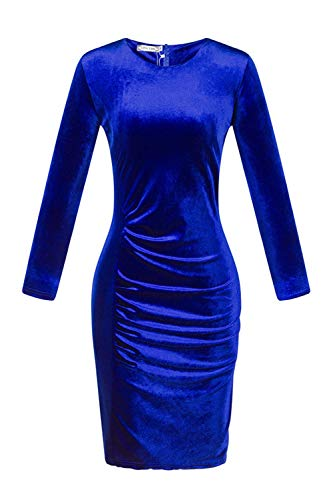 Knielengte Winter Elegante Body Fasumava Jurken Jurk hugging Blauwe Fluwelen Verstoorde 0wHpqxdC