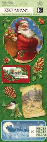 Chipboard Santa (K&Company Elizabeth Brownd Visions of Christmas Santa Adhesive Chipboard)