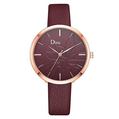 (LUXISDE Watch Women Luxury Fashion Lady Leather Belt Watch Flower Bloom Analog Quartz Watch E)
