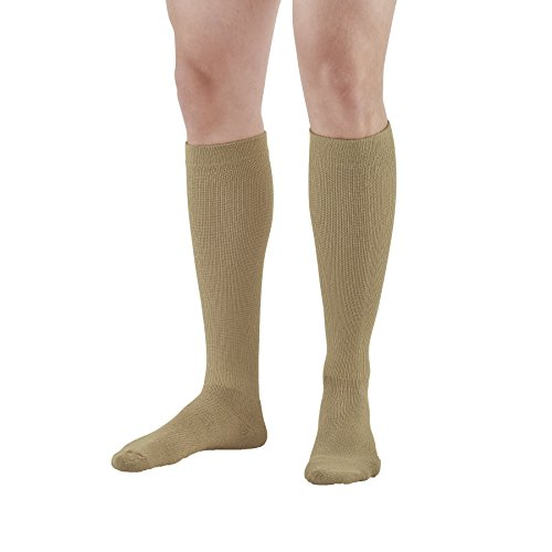 Ames Walker AW Styles 120 125 150 Coolmax 20 30mmHg Firm Compression Knee High Socks Khaki Large Relieves Tired Aching and Swollen Legs Symptoms of varicose Veins Keeps feet Dry -