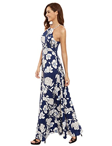 Floerns Women's Sleeveless Halter Neck Vintage Floral Print Maxi Dress, Blue, Medium
