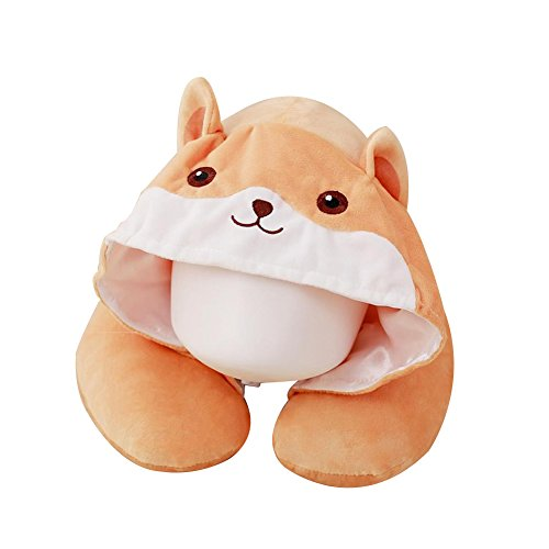 VOPOCO Cute Cartoon Animal 2 in 1 U Shaped Neck Pillow with Cute Onesie Cartoon Cap Cozy Travel Cushion Head Stress Relief Airplane Car Office for Warmth and Privacy Funny Gifts (Khaki Lovely Bear)