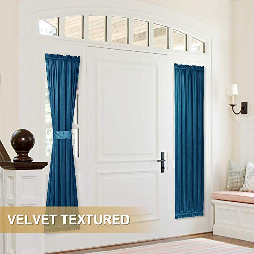 StangH Velvet Sidelight Curtain 72-inch - Home Fashion Privacy Blackout Window Treatment Glazed French Door Panel Drapery for Vestibule Door, Blue, W25 x L72-inch, One Panel (Including Bonus Tieback) ()