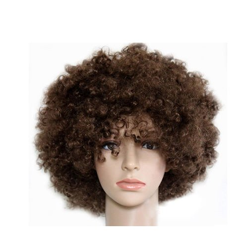 [HOT Fashion Glamour Natural Fluffy Wig Hair Curl Wigs Afro Wig Synthetic Fiber Hairpiece Party Disco Clown Hair Football Fan Adult Child Costume Wig] (Fan Costumes)