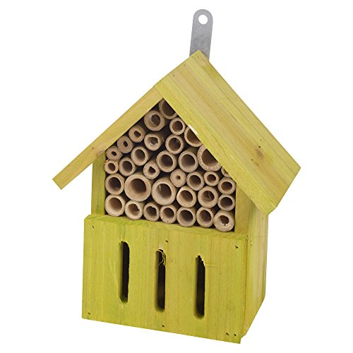 EG Homeware Small Large Wooden Insect Bug Hotel House Wood Shelter Box Roof Coloured Natural (Small, Lime)