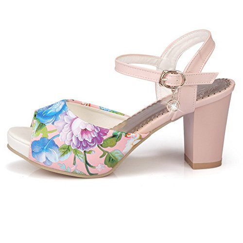 Heels Assorted Buckle Sandals Color Pink Womens High Toe Peep AllhqFashion PU w5q0HCXT7
