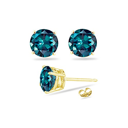 (0.63-0.84 Cts of 4 mm AAA Round Russian Lab created Alexandrite Stud Earrings in 14K Yellow Gold)
