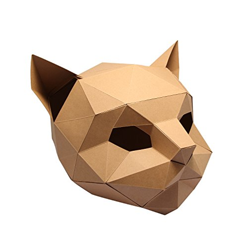3D Paper Mask Animal Head Molds DIY for Halloween Party Costume Cosplay Khaki Cat - FUNLAVIE by FunLavie