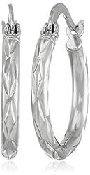 Sterling Silver Starburst Diamond Cut Hoop Earrings