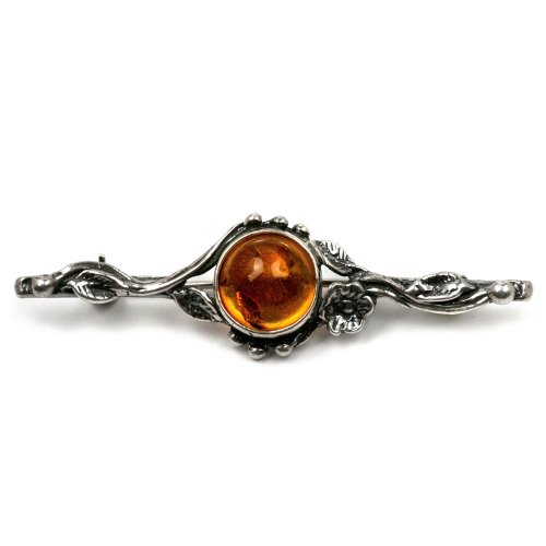 Sterling Silver Amber Flower Classic Brooch
