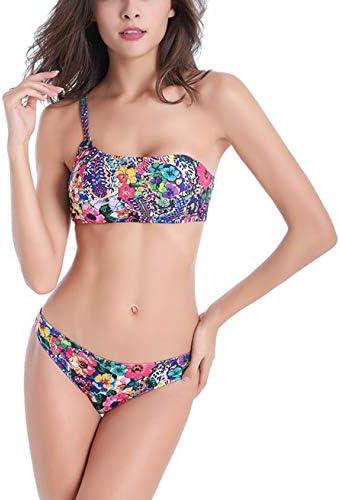 Bestgift dames polyester vakantie zeer elastisch zwemmen slim milieuvriendelijk groen bladeren bikini