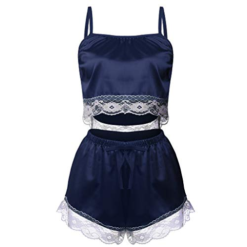 Women Camisole Shorts Briefs Set Sexy Sling Sleepwear Lingerie Nightwear Underwear Navy